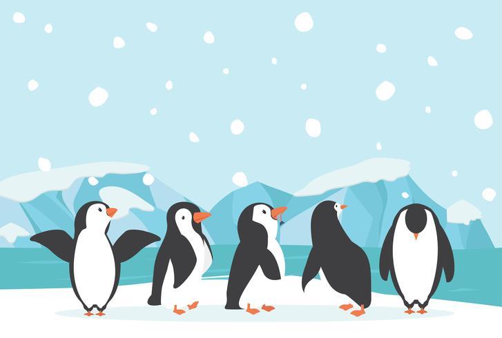 Winter North pole Arctic landscape penguin.