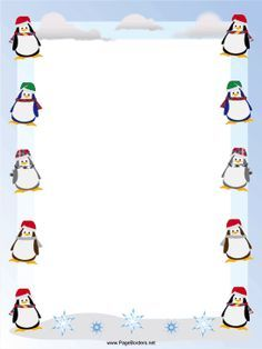 Happy, waddling penguins in winter scarves and hats decorate.