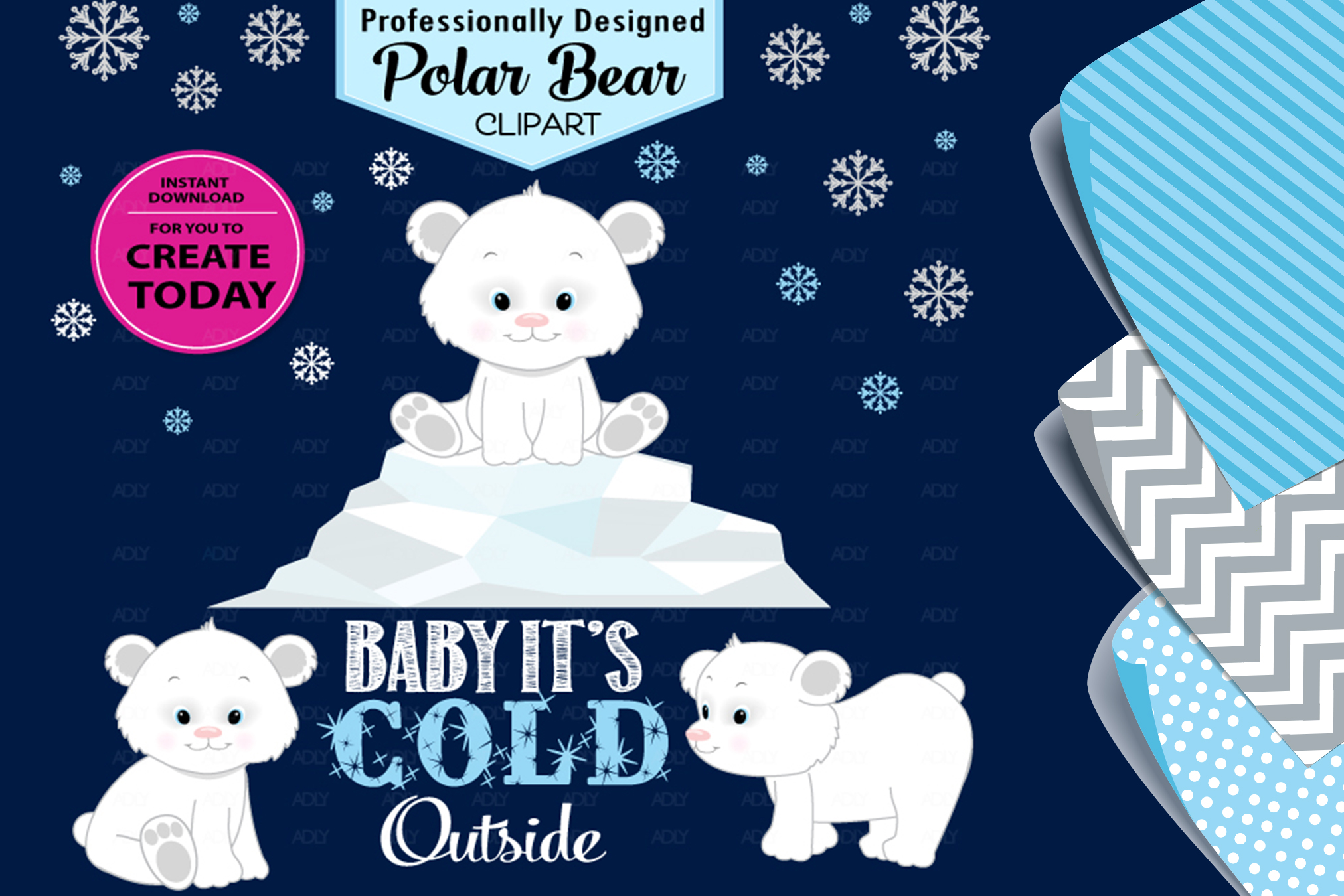Polar Bear Cute White Arctic Winter Theme for Clip Art!.