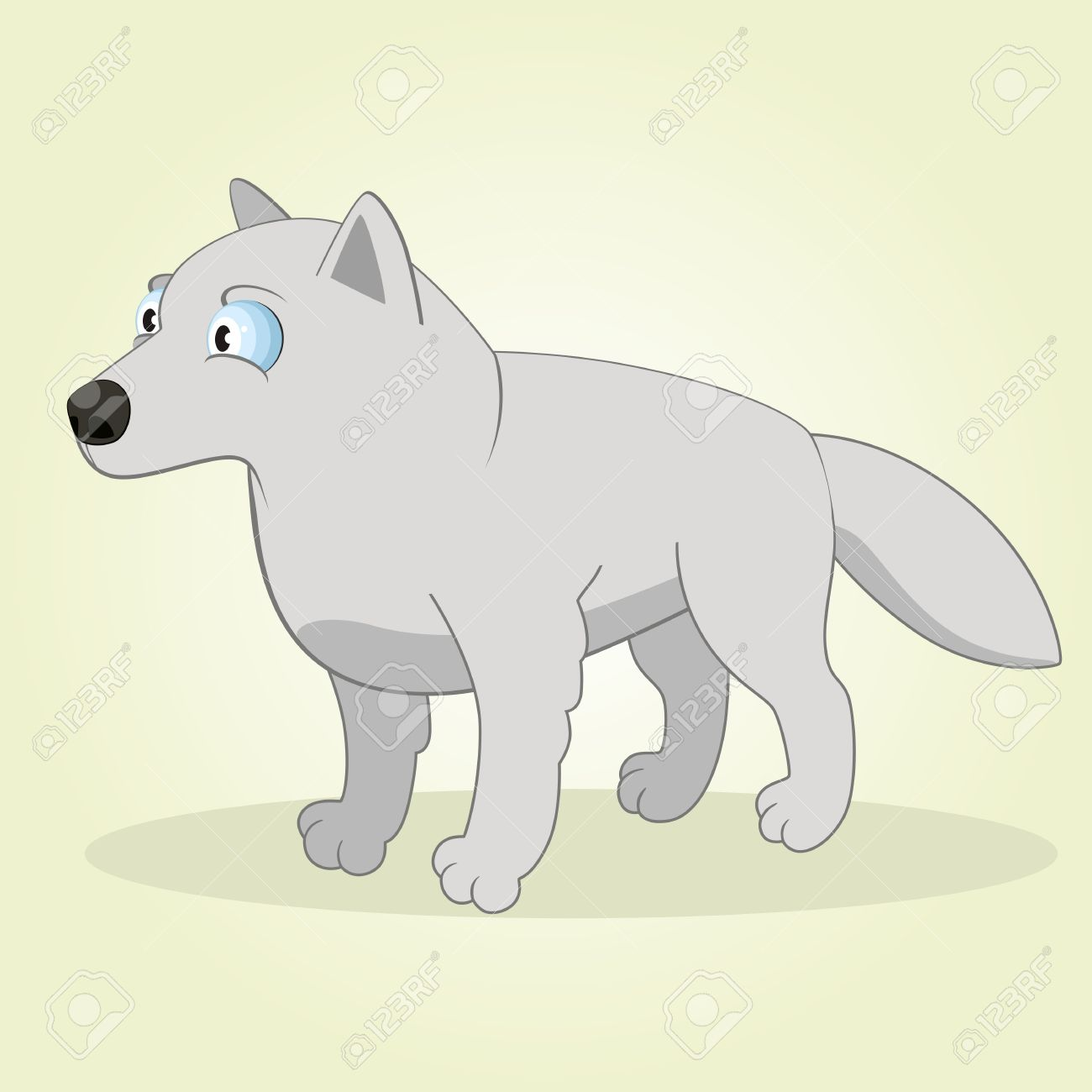 Vector Illustration Of Cartoon Arctic Wolf Royalty Free Cliparts.