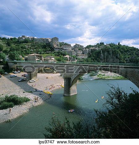 Picture of BRIDGE OVER ARDECHE RIVER BALAZUC VILLAGE ARDECHE.