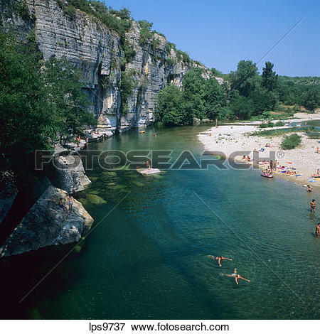 Pictures of PEOPLE SWIMMING IN LA BEAUME RIVER CLIFF GORGES.