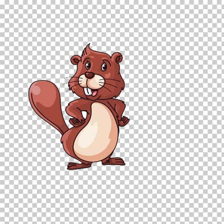 Ilustración castor norteamericano, ardilla marrón PNG.