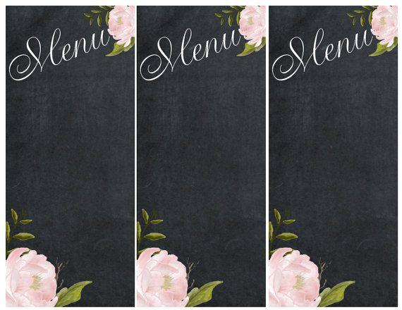 menu Tableau imprimable, menu de fête pour le mariage.