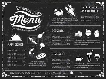 menu vintage: template vecteur menu design Ardoise pour le.