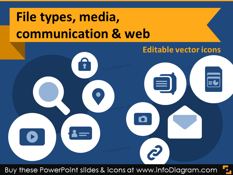 IT icons document type report Media chat hyperlink share PPT clipart.
