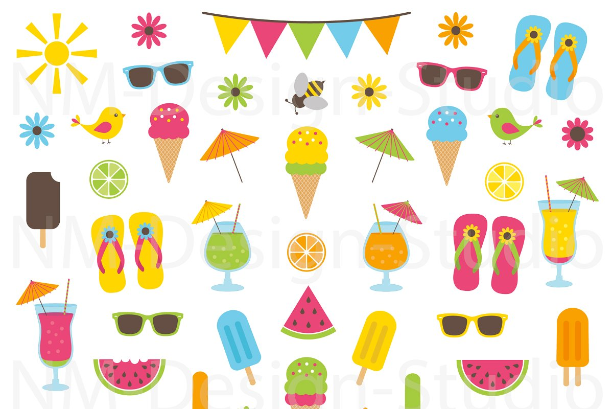 Summer Clipart Set.