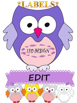 Owl Theme Labels Editable Clipart End of the Year Activities.