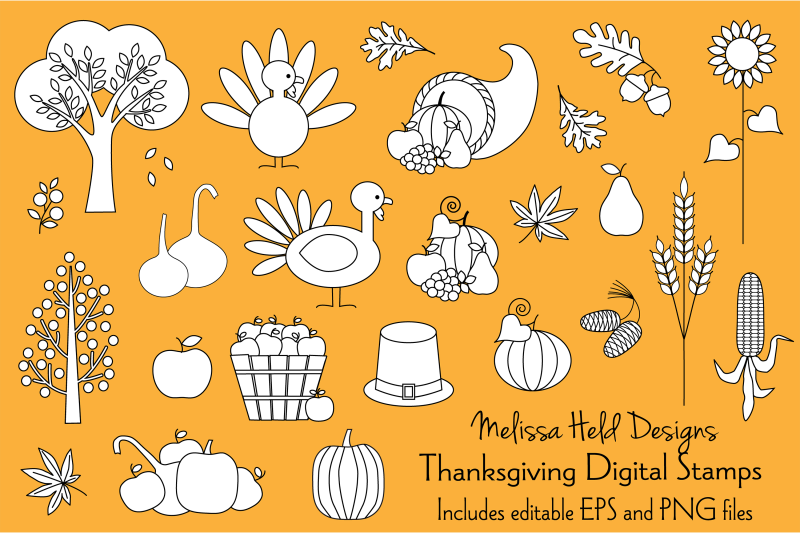 Thanksgiving Digital Stamps Clipart By Melissa Held Designs.