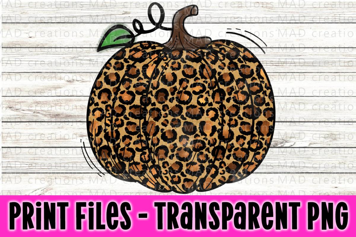 Leopard Print Pumpkin Print File Clipart.