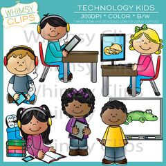 Technology Kids Clip Art.