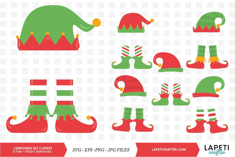 Christmas elf legs clipart, 6 vector svg, eps, jpg, png file.