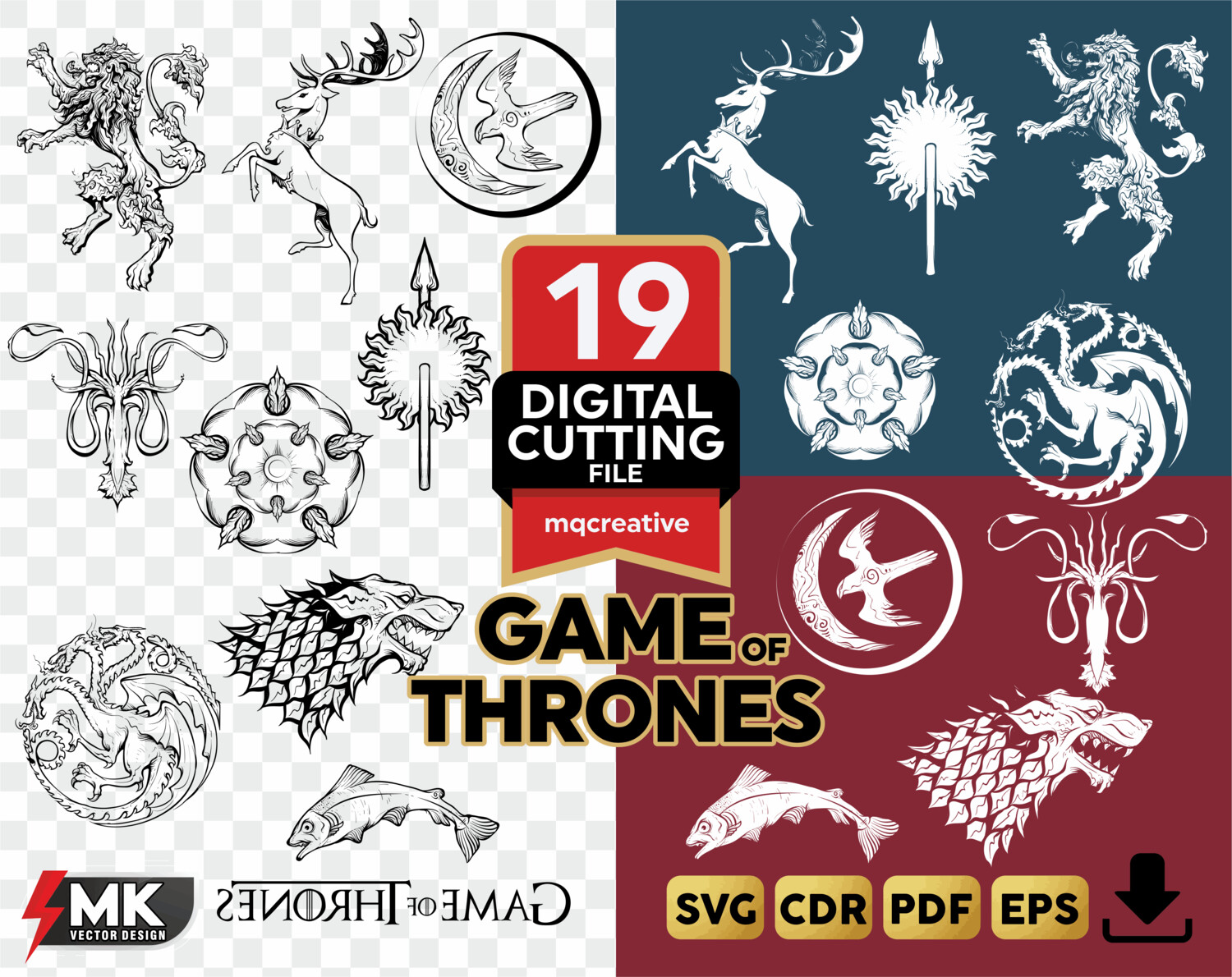 GAME OF THRONES houses silhouette Clipartsvgcut by SVGMKCreative.