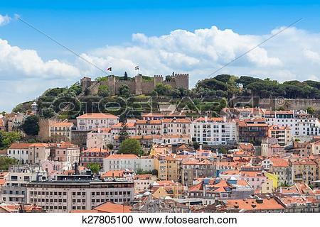 Stock Photography of Lisbon St Jorge Castle from Sao Pedro de.