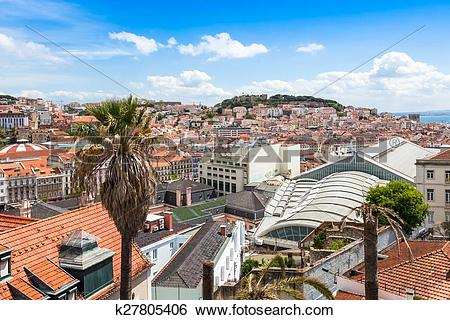 Stock Images of Lisbon rooftop from Sao Pedro de Alcantara.