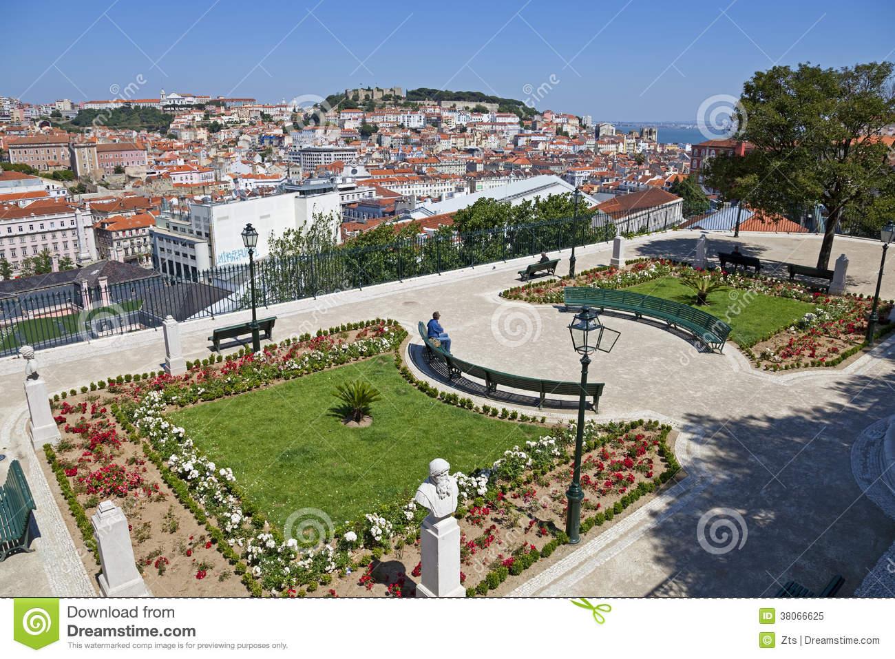 Miradouro De Sao Pedro De Alcantara Lisbon Royalty Free Stock.