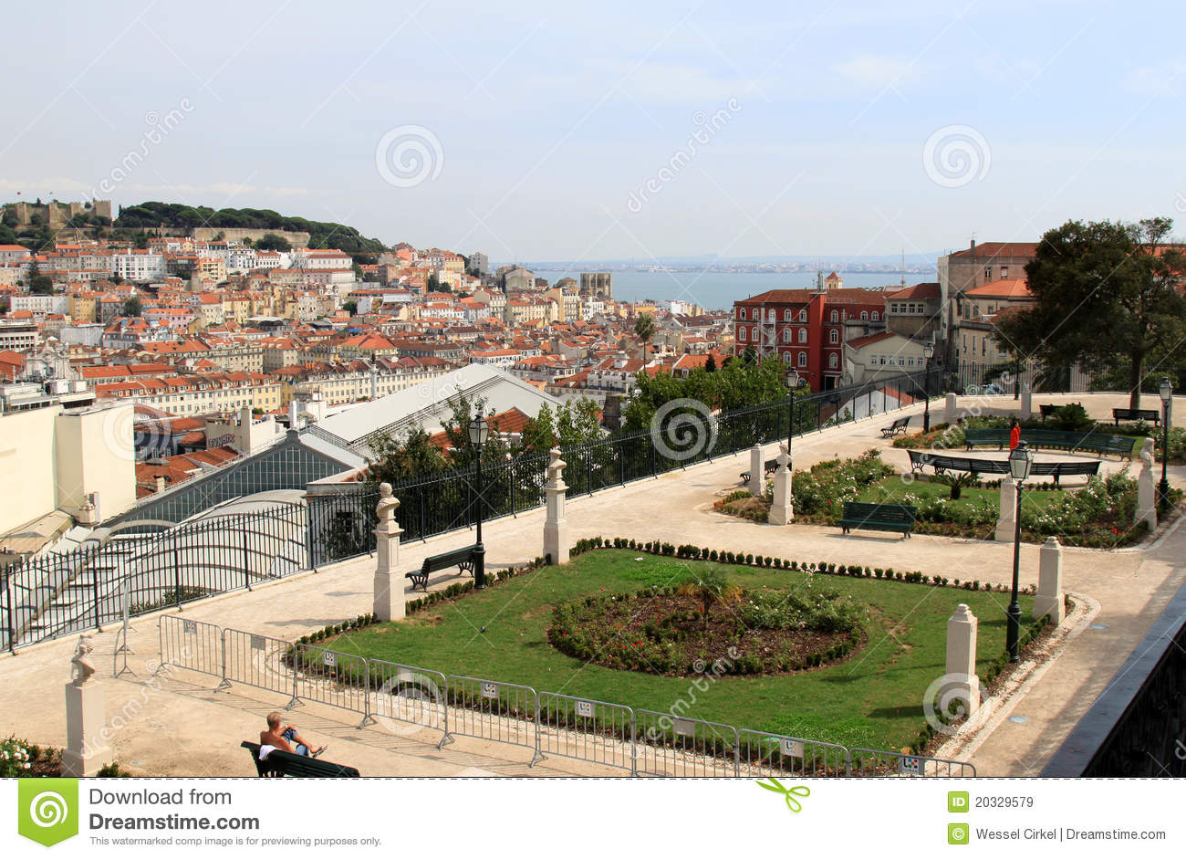 Garden Of San Pedro De Alcantara In Lisbon Stock Photo.