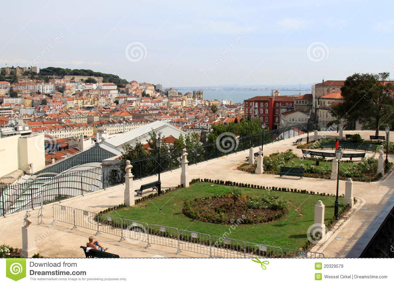 Garden Of San Pedro De Alcantara In Lisbon Stock Photo.