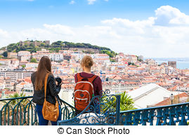 Stock Photography of Lisbon rooftop from Sao Pedro de Alcantara.