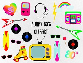 Funky 80's Clip Art Set, Separate Editable EPS Files & Separate PNG Files..