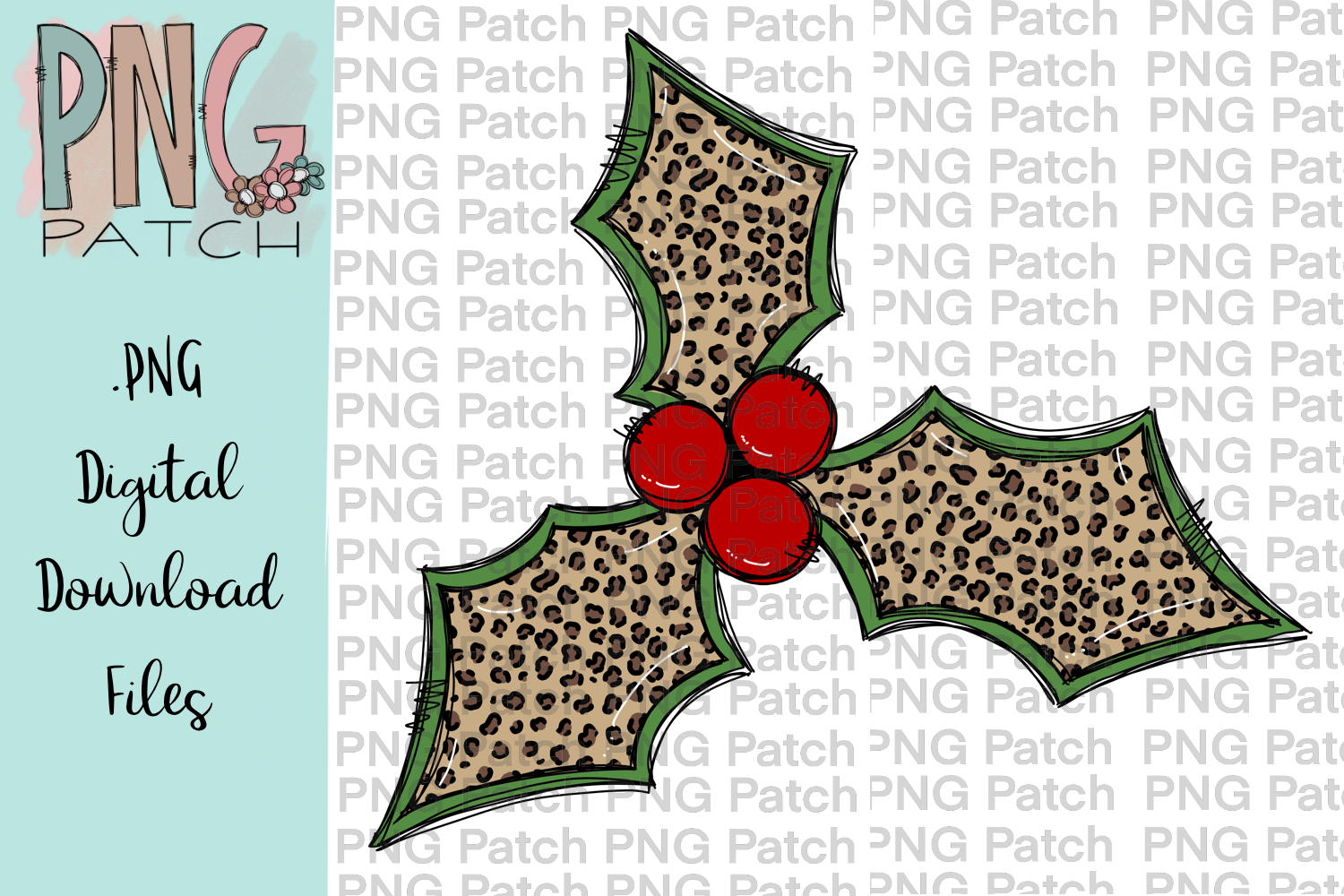 Leopard Print Holly Berry, Christmas PNG File, Sublimation.
