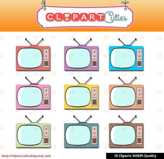 Kawaii Retro TV Digital grahic Clipart.