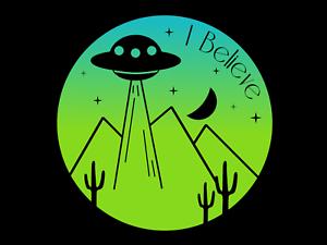 Details about I Believe UFO Alien Printed Sticker Decal Area 51 Nevada  Desert Raid Saucer.