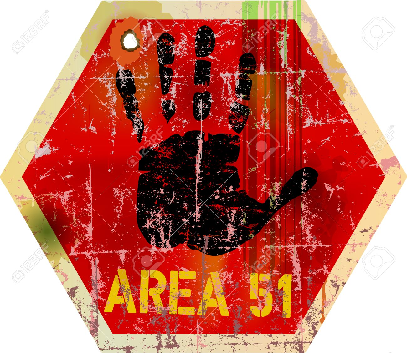 Warning Sign Area 51 , Illustration Royalty Free Cliparts, Vectors.