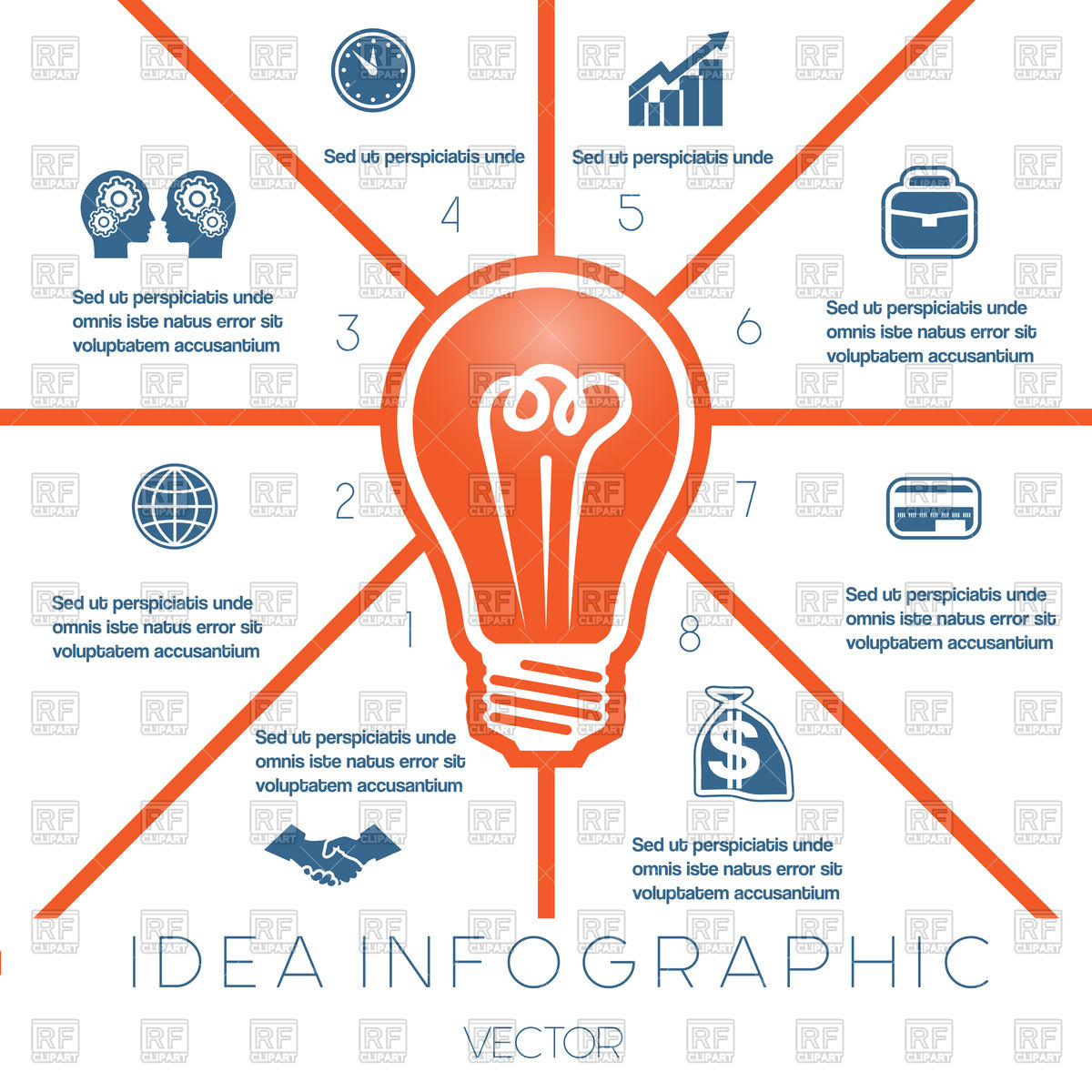 Infographics template on eight positions possible to use for.