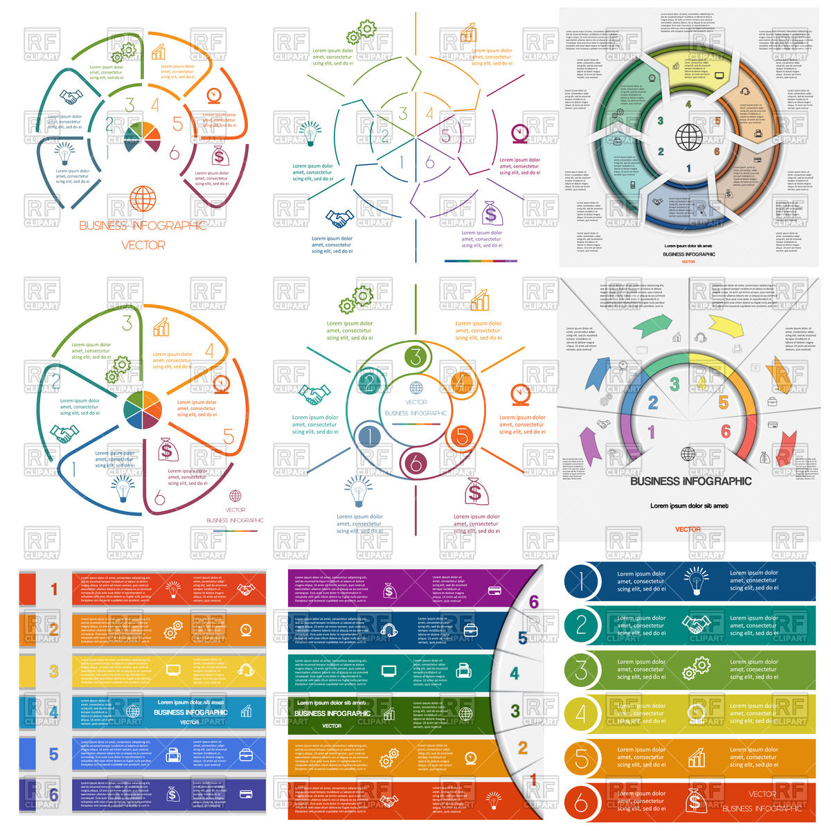 Set of infographics for business conceptual cyclic processes on.