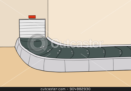 Baggage Claim Area with Closed Door stock vector.