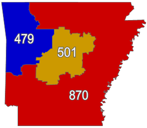 List of Arkansas area codes.