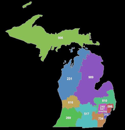List of Michigan area codes.