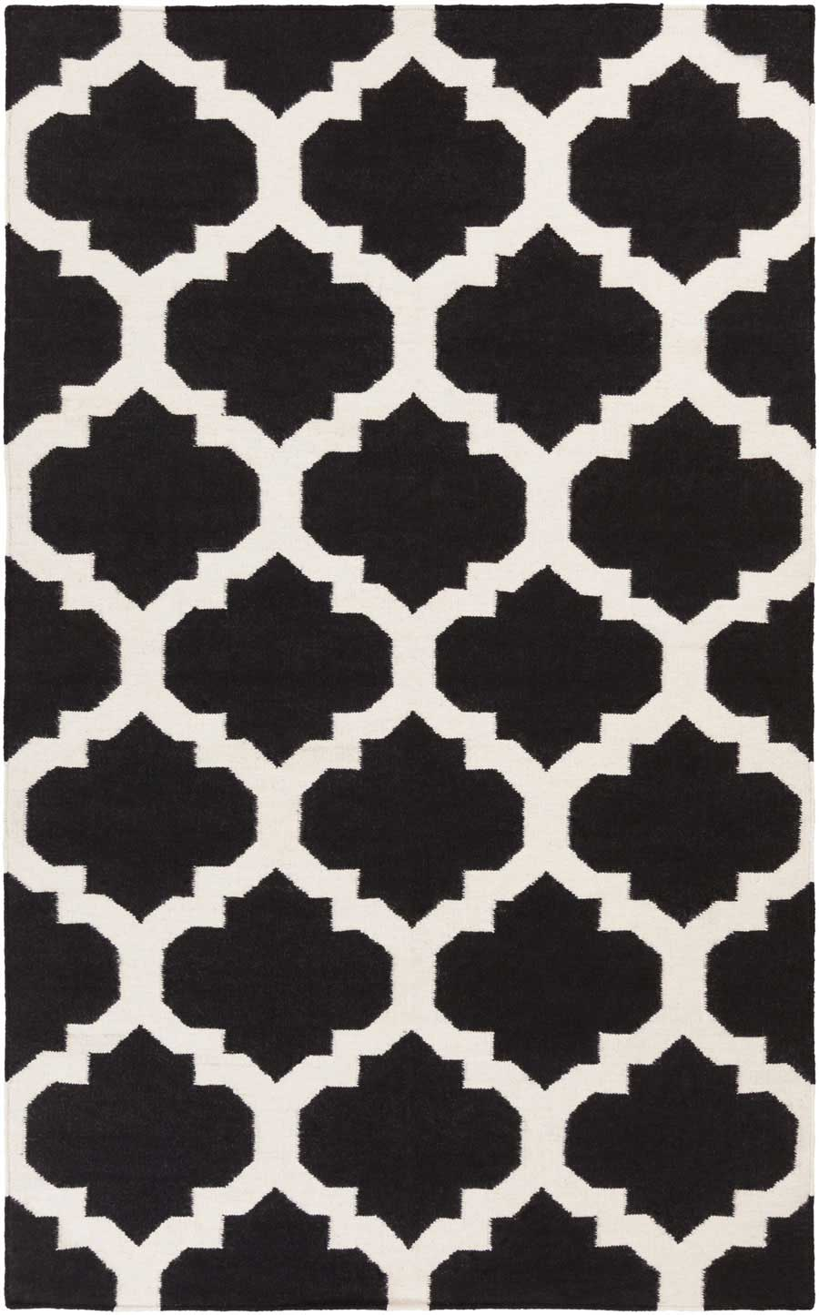 Minimalist Living Room Style with Black White Quatrefoil Stencil.
