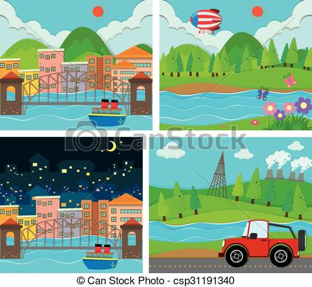 EPS Vector of Four scene of rural and urban area illustration.