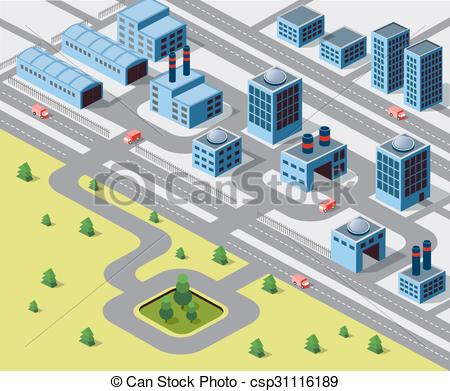 Vector of Factories, warehouses and office buildings in urban.