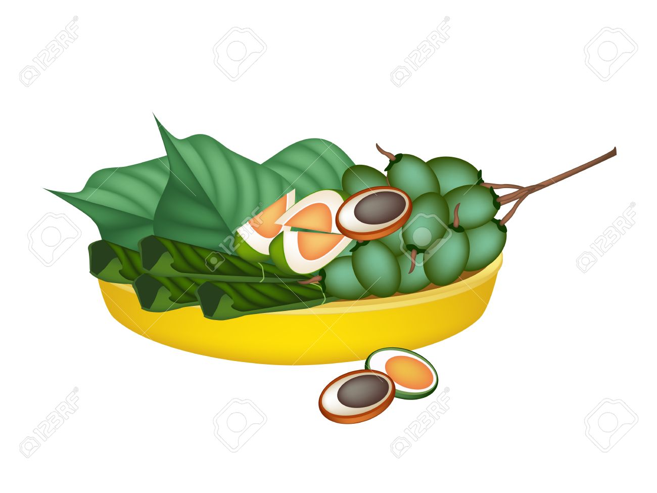 An Illustration Of Ripe Areca Nut Chewed With Betel Leaves On.