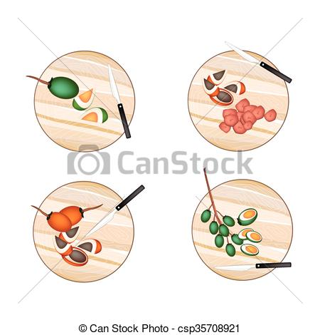 Vector Illustration of Areca Nut Fruit on A Cutting Boards.