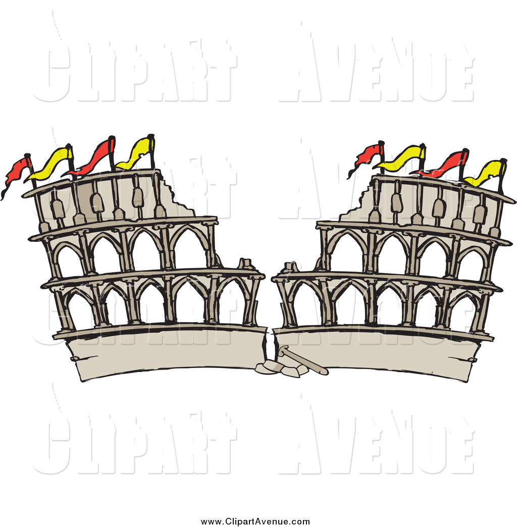 Avenue Clipart of a Crumbling Coliseum Arena in Ruins by Dennis.