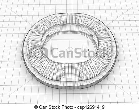 Clipart of sport arena. 3d illustration in wireframe view.