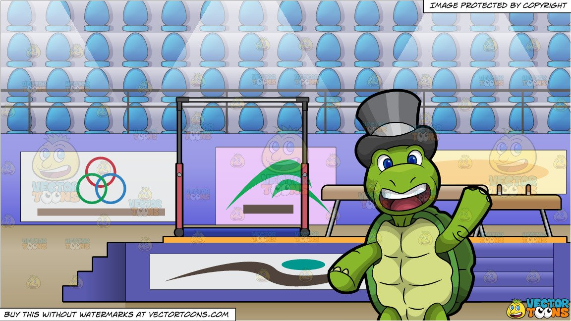 Trevor The Turtle Waving Hello and Competitive Gymnastics Arena Background.