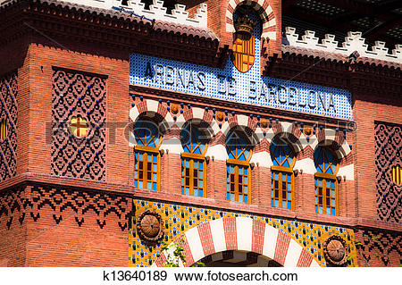 Stock Photograph of Arenas de Barcelona Bull Fighting Spain.