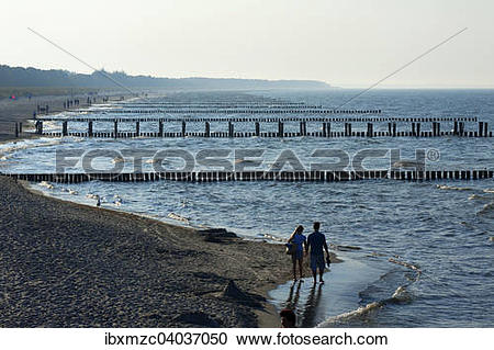"""Stock Photography of """"Baltic Sea beach with groynes in hazy."""
