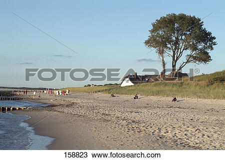 Stock Photo of House on beach, Fischland.