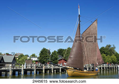Stock Image of Sailing ship at dock, Ahrenshoop, Fischland.