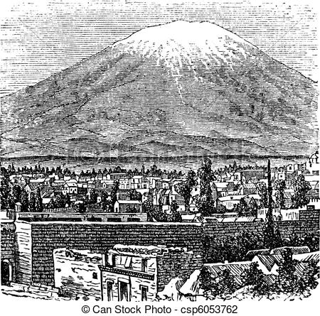 Vector Illustration of Arequipa and the Misti volcano old.