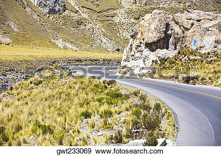 Stock Photograph of Road passing through a landscape, Arequipa.