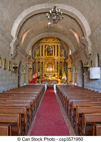 Stock Photography of Church in South America in Arequipa, Peru.