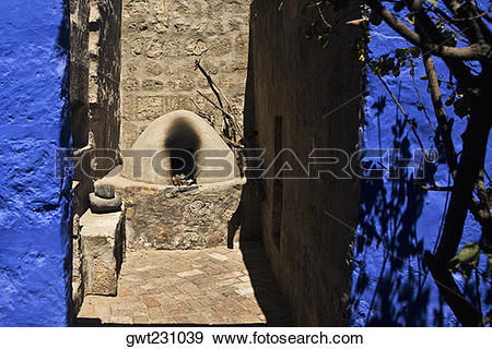 Stock Photograph of Stone structure in a building, Santa Catalina.
