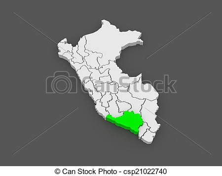 Drawing of Map of Arequipa. Peru. 3d csp21022740.